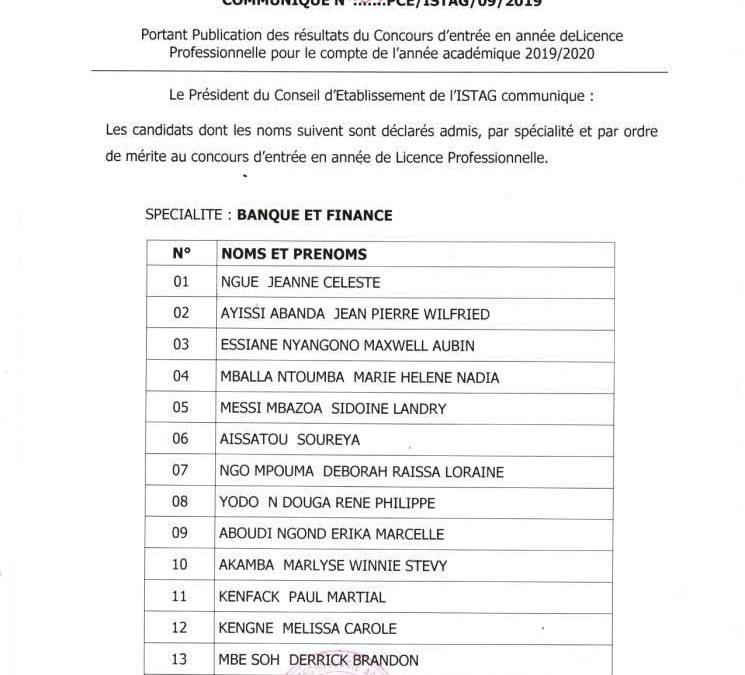 Résultats du concours d'entrée en année de licence professionnelle du 01/09/2019