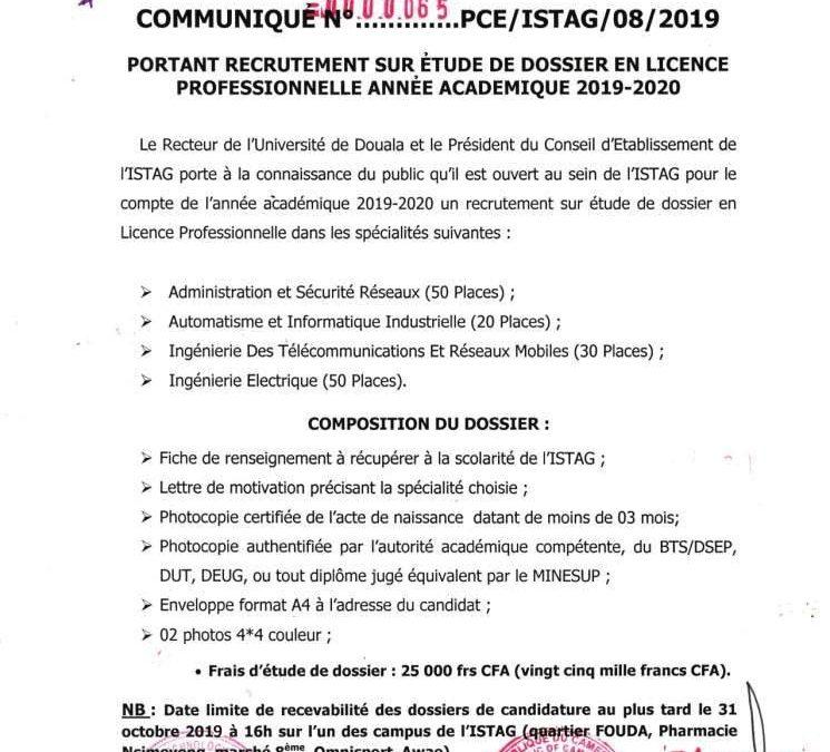 Recrutement en année de licence professionnelle 2019/2020 (Pôle technologie)
